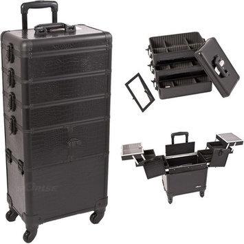 Just Case Sunrise I3364CRAB Black Crocodile Trolley Makeup Case