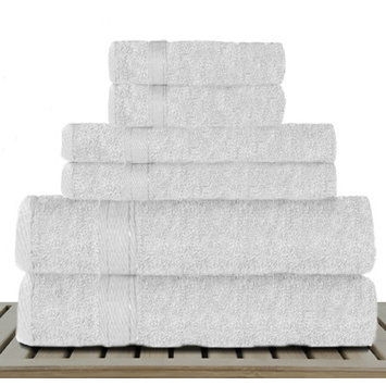 Linen Depot Direct Sandra Venditti Bamboo Rayon 6 Piece Towel Set Color: White