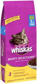 Whiskas® Meaty Selections® Chicken & Turkey Flavors Dry Cat Food 7 lb.
