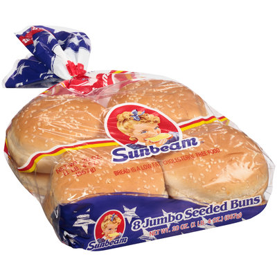 Sunbeam® Enriched Jumbo Seeded Sandwich Rolls 8 ct Bag