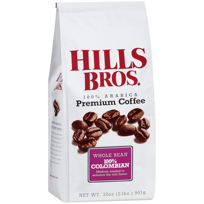 Hills Bros. 100% Arabica 100% Columbian Whole Bean Premium Coffee 32 oz. Bag