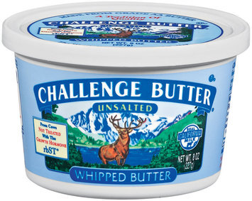 Challenge Whipped Unsalted Butter 8 Oz Tub