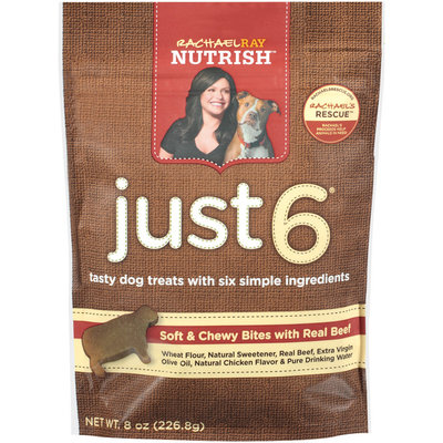 Nutrish Just 6 Soft & Chewy Bites W/Real Beef Dog Treats 8 Oz Peg