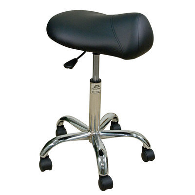Oakworks Professional Saddle Stool with Chromed Steel Base Color: Clay