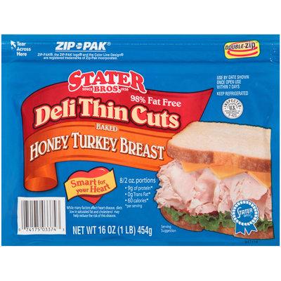 Stater Bros.® Deli Thin Cuts Baked Honey Turkey Breast 16 oz. ZIP-PAK®