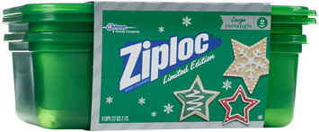 Ziploc® One Press Seal Holiday Green Large Rectangle Containers 2 ct Sleeve