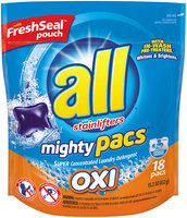 All® Free Clear Oxi Mighty Pacs® Laundry Detergent 15.2 oz. Pack