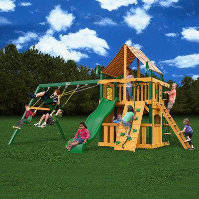 Gorilla Playsets Playground Equipment. Chateau II Clubhouse with Amber Posts and Sunbrella Weston Ginger Canopy Cedar Playset