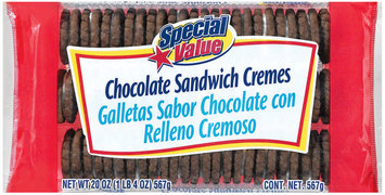 Special Value Sandwich Cremes Chocolate Cookies 20 Oz Tray