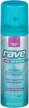 Rave® 4X Mega Unscented Travel Size Hairspray 1.5 oz. Can