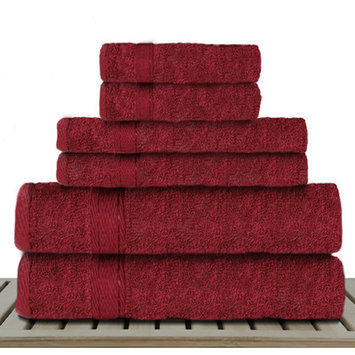 Linen Depot Direct Sandra Venditti-Bamboo 6 Piece Bath Towel Set, Red
