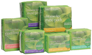 Seventh Generation Ultrathin Overnight, Ultrathin Regular, Pantiliners, Maxi Overnight & Maxi Regular Group Feminine Pads