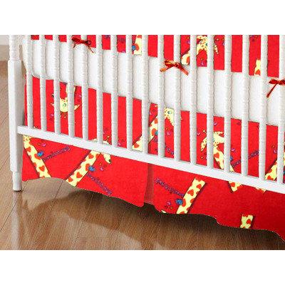 Sheetworld Giraffes Crib Skirt Color: Red