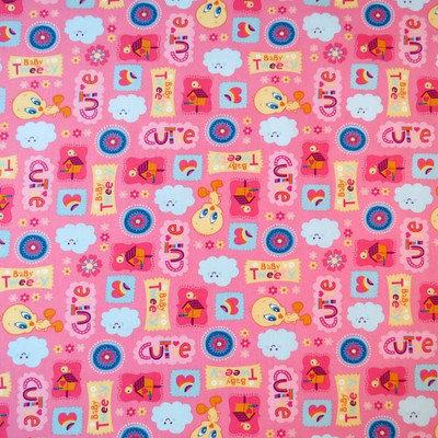 Stwd Baby Tweety Portable Mini Fitted Crib Sheet Color: Pink