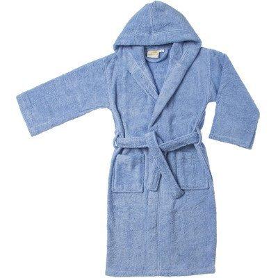 Simple Luxury Egyptian Cotton Kids Hooded Bathrobe, Large, Blue