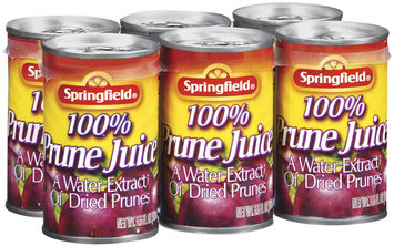 Springfield Prune 5.5 Oz 100% Juice 6 Ct Pull-Top Cans
