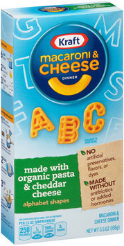 Kraft Alphabet Shapes Macaroni & Cheese Dinner Made with Organic Pasta & Cheddar Cheese 5.5 oz. Box