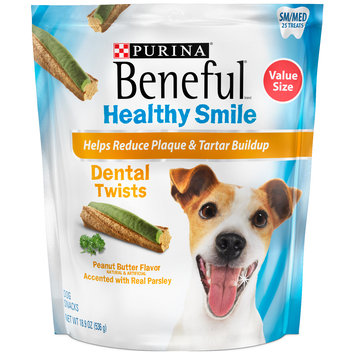 Purina Beneful Healthy Smile Twists Sm/Med Dental Dog Snacks 25 ct Pouch