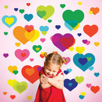 Wall Candy Arts Wallcandy Arts oh01 Overlapping Hearts Wall Stickers