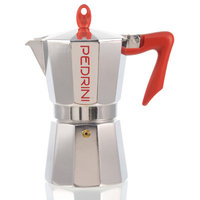 Grosche International Pedrini Stovetop Espresso Pot Silver with Red Handle Size: 6 Cup
