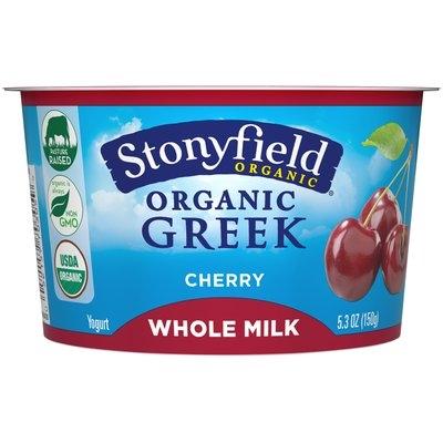 Stonyfield Organic® Greek Whole Milk Yogurt Cherry 5.3 oz. Split Cup