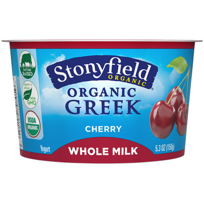 Stonyfield Organic® Greek Whole Milk Yogurt Cherry 5.3 oz. Split Cup