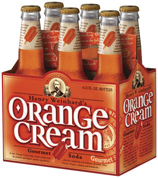 Henry Weinhard's Orange Cream 12 Oz Gourmet Soda 6 Pk Glass Bottles