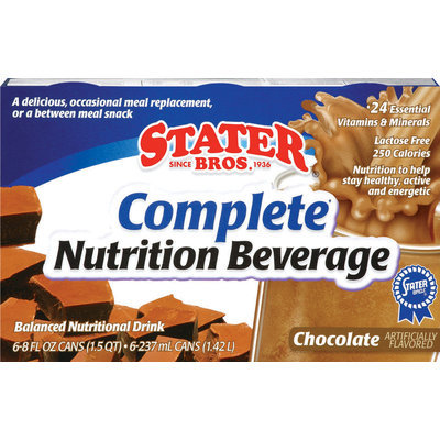 Stater Bros. Chocolate 8 Oz Complete Nutrition Beverage 6 Pk Cans