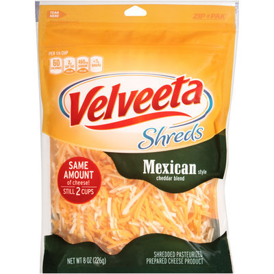 Velveeta Shreds Mexican Style Cheddar Cheese Blend 8 oz. ZIP-PAK®