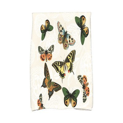 August Grove Sun Valley Antique Butterflies and Flowers Print Hand Towel Color: Cream