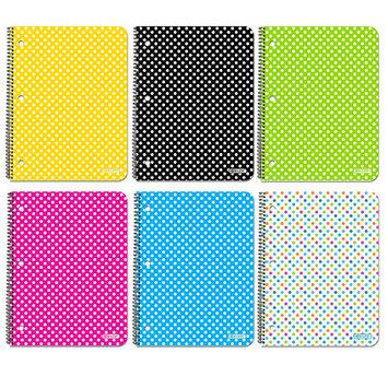 Bazic 6 Piece 1-Subject Polka Dot Spiral Notebook Set