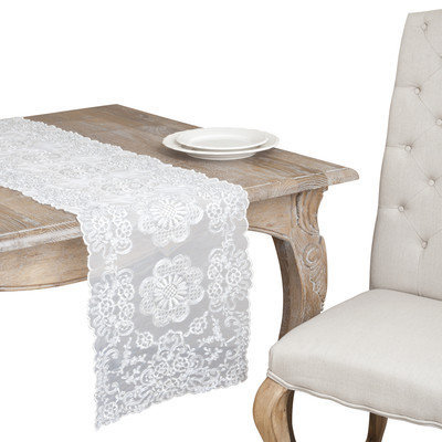 Saro Ivory and Silver Rope Embroidered Table Runner