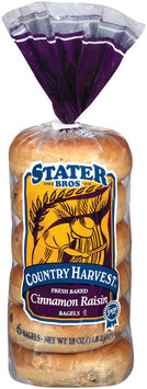 Stater Bros. Cinnamon Raisin Country Harvest 6 Ct Bagels 18 Oz Bag