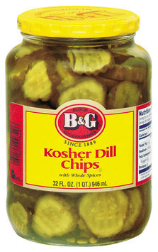 B&G Kosher Dill Chips W/Whole Spices Pickles 32 Oz Jar