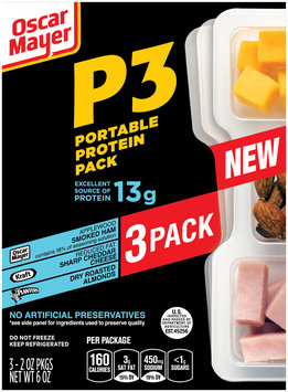 Oscar Mayer P3 Smoked Ham, Sharp Cheddar Cheese & Almonds Portable Protein Pack 3-2.0 oz. Trays