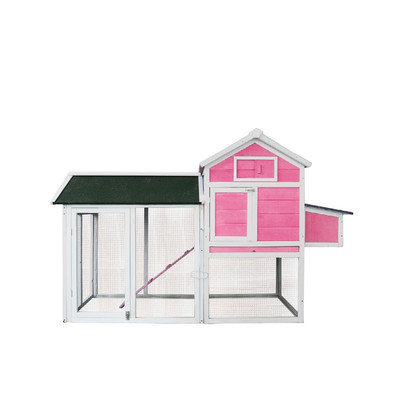 Exacme Hen House Pet Cage Chicken Coop with Roosting Bar Color: Pink