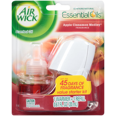 Air Wick® Essential Oils™ Apple Cinnamon Medley® Starter Kit 0.67 fl. oz. Carded Pack