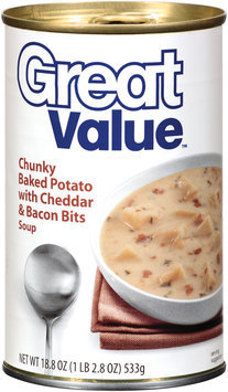 Great Value Chunky Baked Potato W/Cheddar & Bacon Bits Soup 18.8 Oz Pull-Top Can