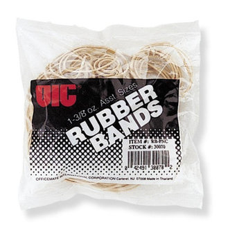 Officemate Rubber Bands, 1-3/8 oz, Assorted Sizes, Natural