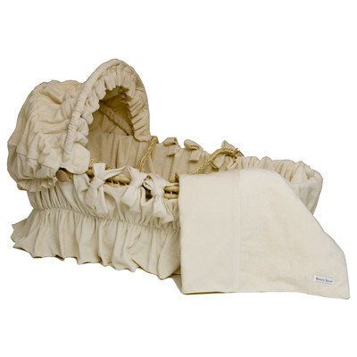 Wendy Anne OCV01 - Moses Basket with Organic Bedding Set Ivory Velour