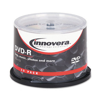 Innovera 46850 DVD-R Discs, 4. 7GB, 16x, Spindle, Silver, 50-Pack