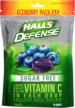 Halls Defense Sugar Free Blueberry Vitamin C Supplement Drops 70 ct Bag