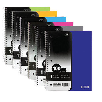 Bazic 1-Subject Poly Cover Spiral Notebook Size: 10.5