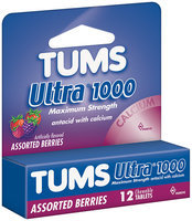 Tums Maximum Strength Assorted Berries Tablets Ultra 1000 Antacid Calcium Supplement 12 Ct Peg
