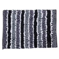 Textile Decor Castle 100% Cotton Chunky Chenille Spray Latex Back Bath Rug, 40 H X 24 W, Black/White/Ash