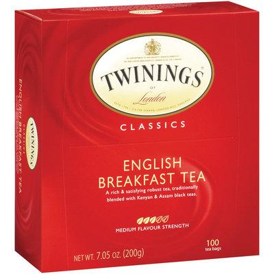Twinings of London Classics English Breakfast Medium Flavour Strength Tea Bags 100 Ct Box