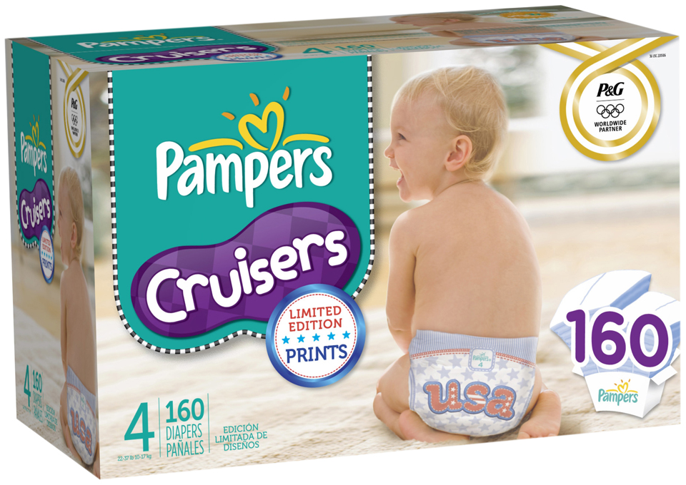 Pampers Cruisers Limited Edition USA Design Economy Plus Size 4 Diapers 160 ct Pack