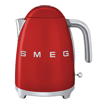 Smeg KLF01RDUS Retro Style Electric Kettle with Stainless Steel Powder Coated Body Polished Chrome Base and Handle 7 Cups Jug Capacity Double Water Indication