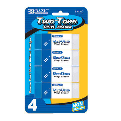 BAZIC Two-Tone Vinyl Eraser (4/Pack)(Case of 72)