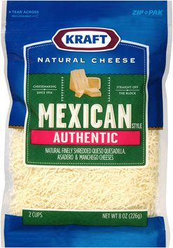 Kraft Natural Cheese Mexican Style Authentic Finely Shredded Cheese 8 oz. ZIP-PAK®